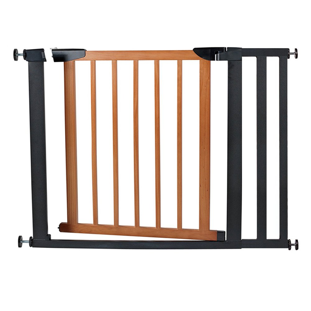 Fairy Baby Pet & Baby Gate Narrow Extra Wide for Stairs Metal and Wood Pressure Mounted Safety Walk Through Gate,29'' High,Fit Spaces 73.62''-76.38'',Coffee Black