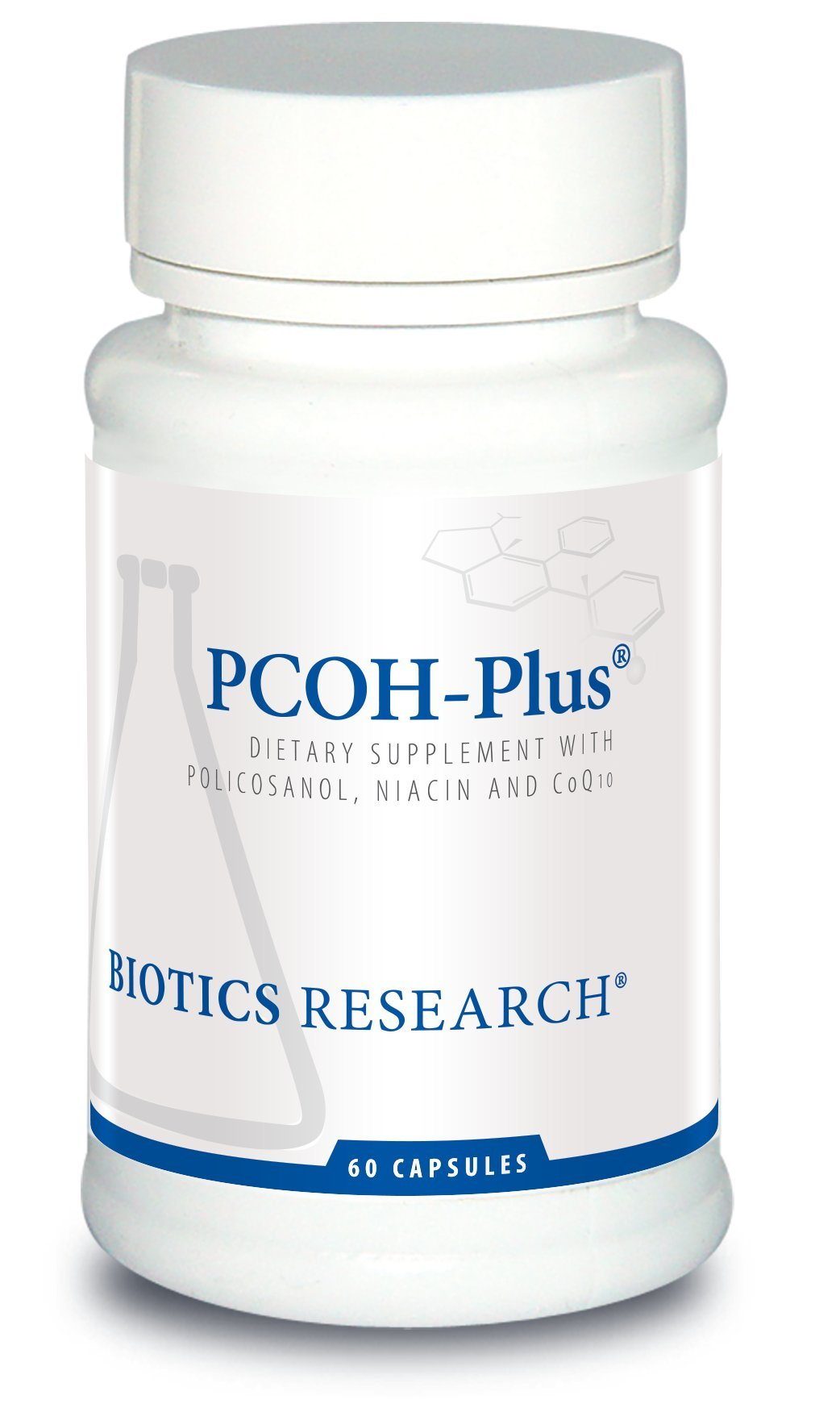 Biotics Research PCOH-Plus - Policosanol from Sugarcane, Supports Cardiovascular Health, Healthy Heart, Optimal Lipid Metabolism. Healthy Blood Circulation. 10 mg 60 Caps