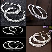 New Women Silver Plated Diamante Crystal Rhinestone Hoop Round Earring Jewelry