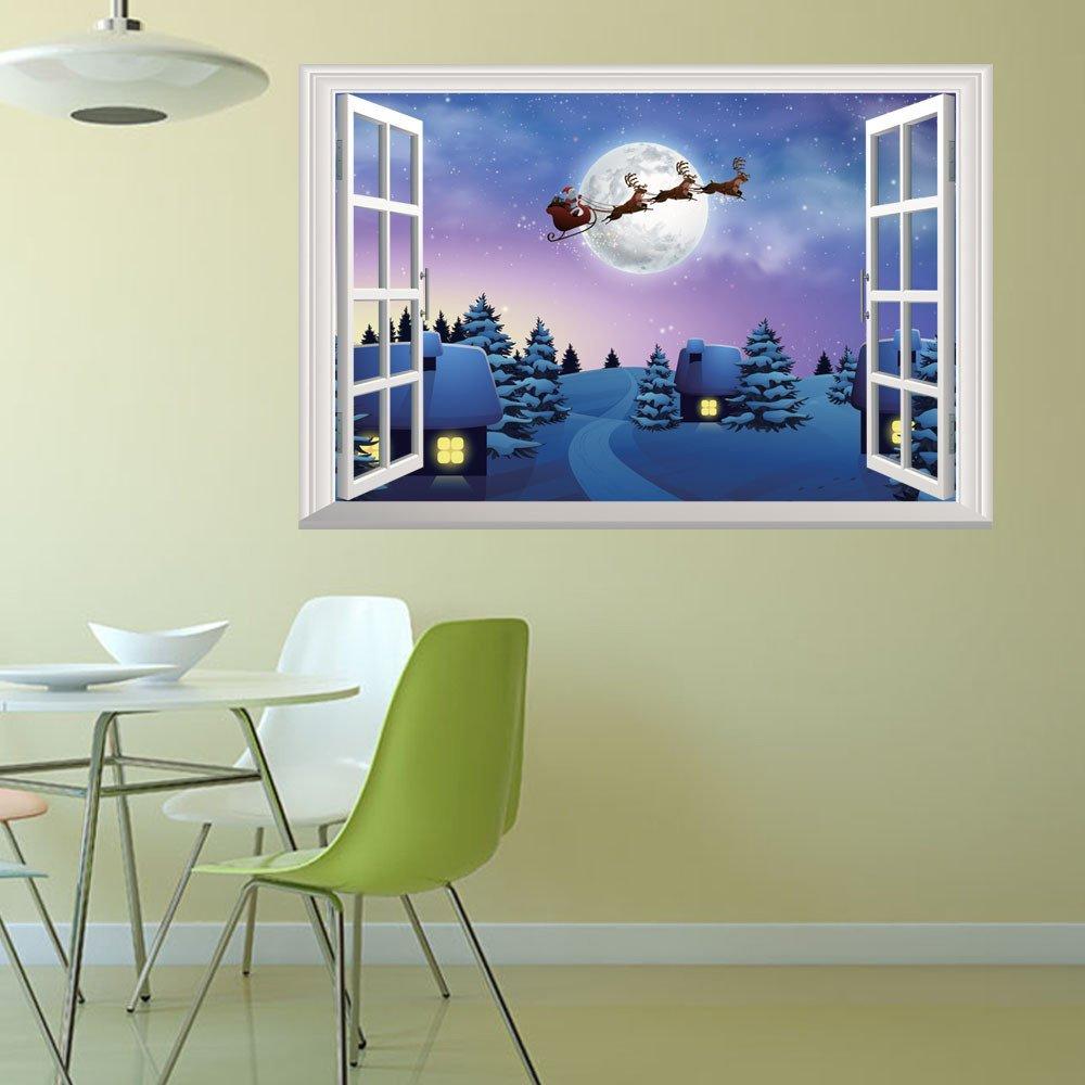 LINSINCH Weihnachten Deko Aufkleber Wandtattoo Wohnkultur Wandaufkleber 3D Art Sticker Fenster Winter Santa Hirsch Wanddeko Wohnzimmer Schlafzimmer Kinderzimmer Esszimmer Tapete Wandsticker