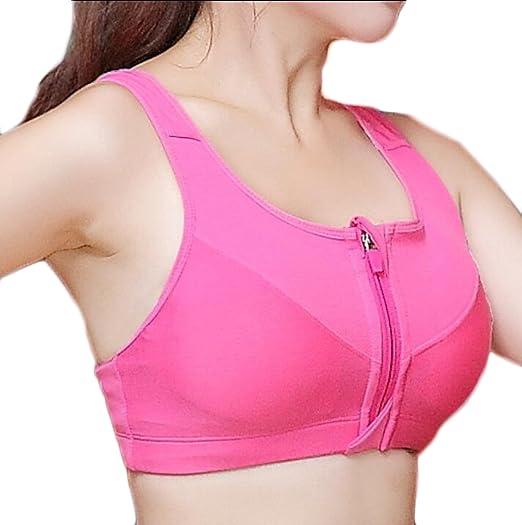 be6148ec6a GAGA Womens Fashion Zip Front Sports Bra Wireless Post-Surgery Bra Active  Yoga Sports Bras