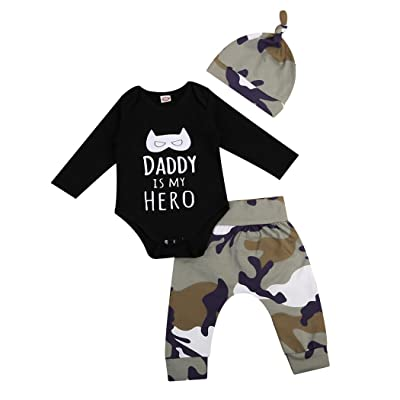 MIOIM 3pcs Infant Toddler Baby Boys Letter Printed Outfits Set Rompers Camo Leggings Matching Hat