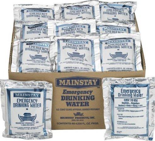 Emergency Water (Mainstay Emergency Drinking Water 4.225 oz (60 Pack))