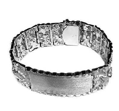 b483448f5cde5 Amazon.com: 14kt Solid White Gold Handmade Mens ID Nugget Bracelet ...