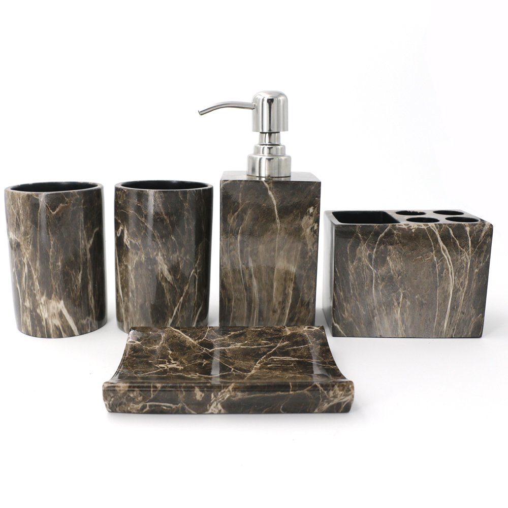 kaileyouxiangongsi Showering and Brushing Set, Includes Soap Dispenser with Stainless Steel Pump, Toothbrush Holder, Tumbler and Soap Dish, Brown