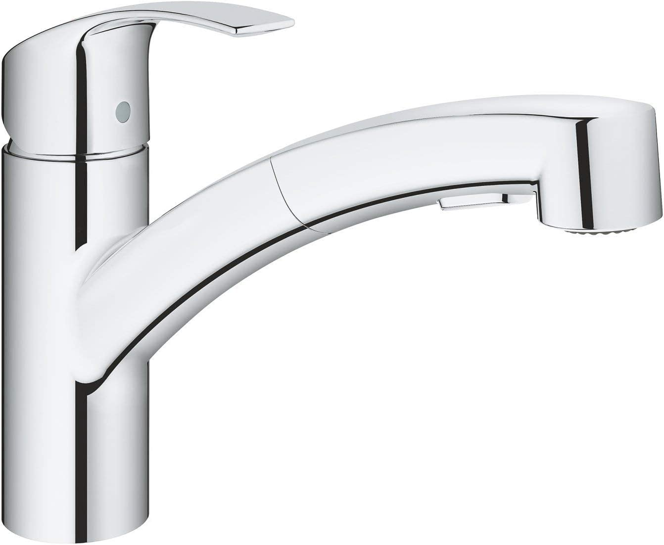 GROHE 30305000 Eurosmart Pull-Out Single-Lever Kitchen Tap, Chrome