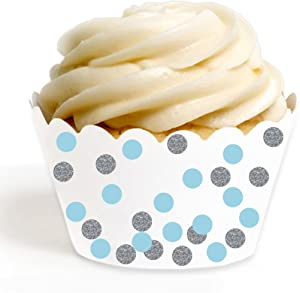 Andaz Press Birthday Party Cupcake Wrappers Decorations, Baby Blue, White, Faux Silver Glitter, 24-Pack, Bulk Decor Supplies, Boy Elephant Baby Shower Theme Supplies