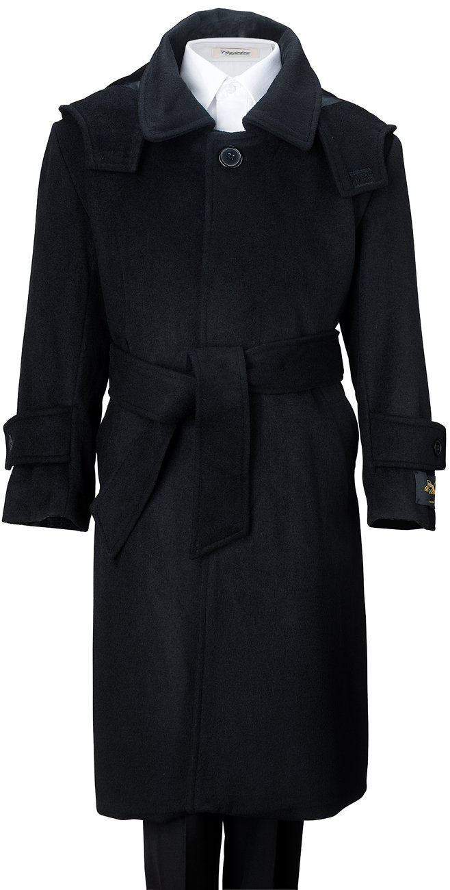De Valoure Boys Black Warm Winter Long Formal Dress Wool Coat with Hood & Belt Great for Holidays, Parties, Holiday Gift, & All Formal events 8 by De Valoure
