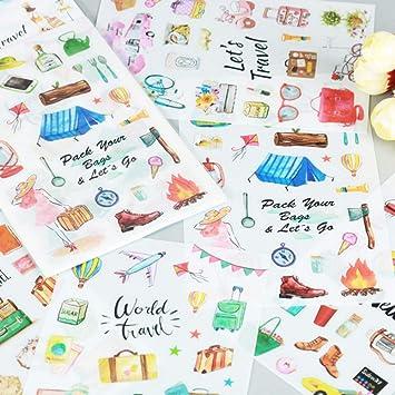 Zxdcd 6 Unids/Pack World Travel Cartoon Stickers Diario Sticker Scrapbook Decoración Pvc Papelería Pegatinas: Amazon.es: Bricolaje y herramientas