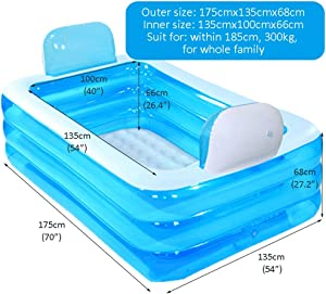 Blue Color Inflatable Bath Tub Plastic Portable Foldable Bathtub Soaking Bathtub Home SPA Bath Equip with Electric Air Pump (Size : 180cm)