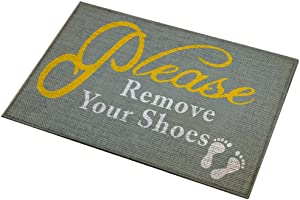 Eanpet Front Door Mat Funny Doormat Welcome Mats 2x3 FT Outdoor Indoor Entrance Doormat Rubber Thin Non Slip Rug Outside Waterproof Shoes Scraper Area Rug for Home Decor Bedroom Garden - Remove Shoes