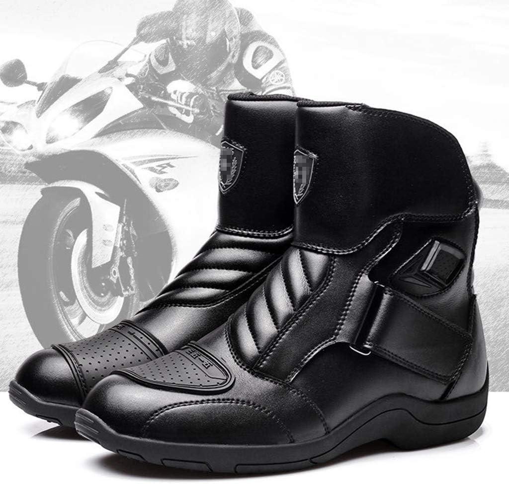 WERT Motorrad Schuhe Herren Sport R/üstung Schutz Motocross Onroad Boot Anti Slip Stiefel Lokomotive Reitstiefel,Black-38