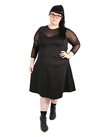 7b8e323e00f23 Topsy Curvy Womens Plus Size Black Skater Dress with mesh Sleeves (16)