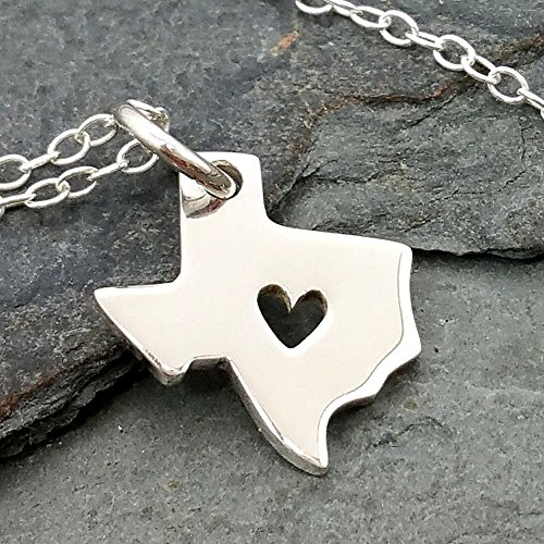 Heart Of Texas State Necklace   925 Sterling Silver