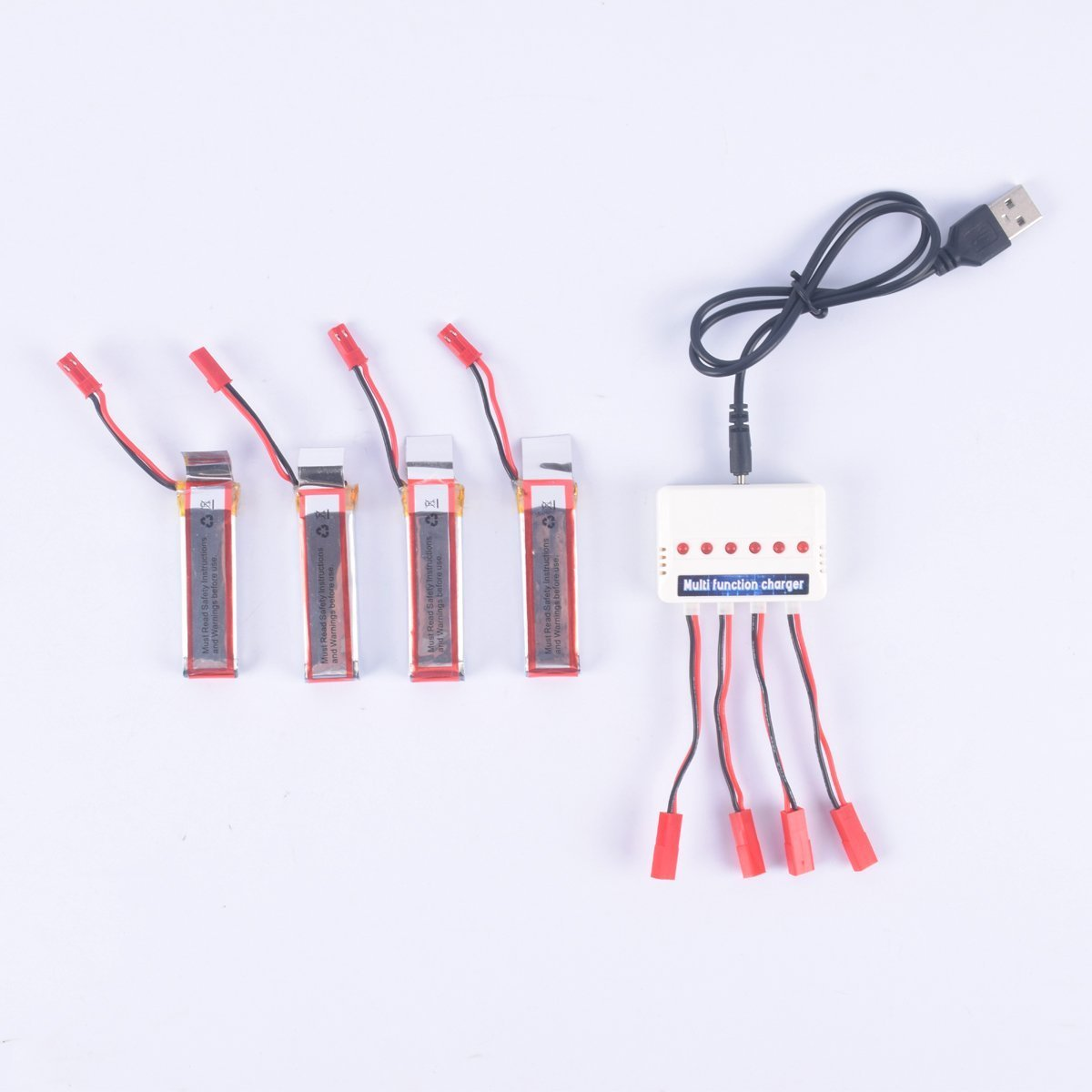 YouCute 4pcs 3.7V 500mAh official Battery and 1to6 charger for UDI U818A U818A-1 U818A HD U818A HD+ RC quadcopter drone spare parts