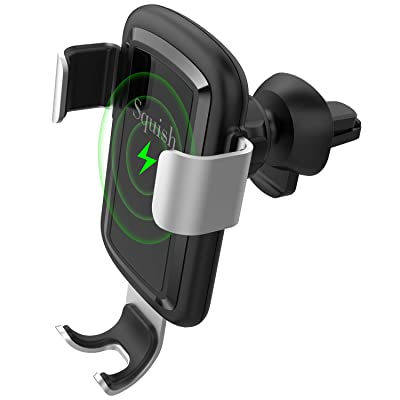 Squish Qi Wireless Car Charger, Fast Charging Car Charger Mount for Air Vent, Fast Wireless Charging Car Phone Holder, 7.5W for iPhone iPhone11/11ProMax/XR/XS/X, 10W for Samsung OnePlus HTC etc