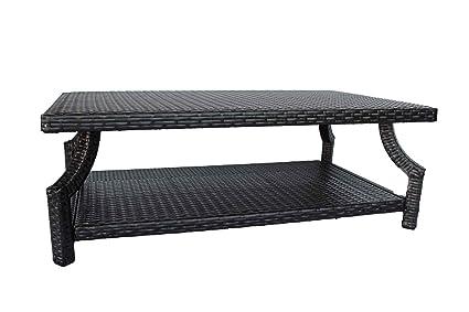 Amazoncom Dola Wicker Patio Coffee Table Rectangle Dark Espresso - White wicker patio coffee table