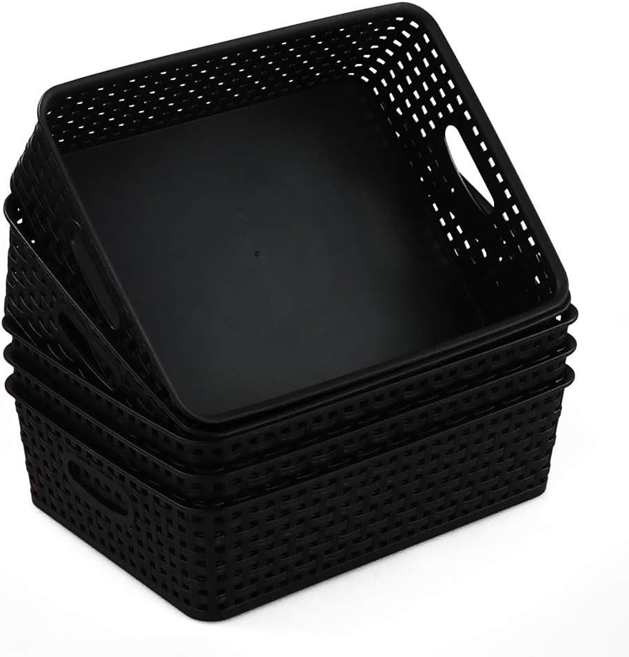 6 Packs Qqbine Plastic Household Caddy Box Storage Bins with Lids and Handles Black