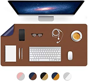 """Dual-Sided Using Desk Blotter Pad Mat Table Mats PU Leather Tabletop Protector on Top of Desks for Office Writing Desktop Computer Laptop Under Gaming Keyboard Waterproof Decorative Accessory 16X32"""""""