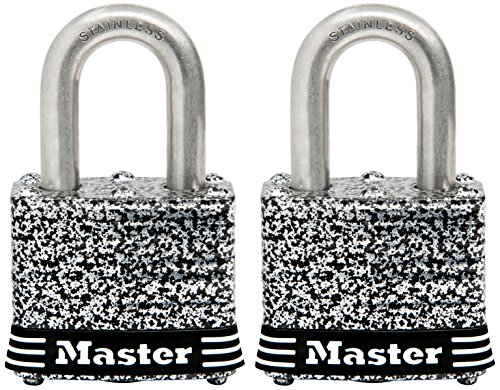Master Lock Padlock, Laminated Stainless Steel Lock, 1-9/16 in. Wide, 3SST (Pack of 2-Keyed (Ilco Locking Locks)