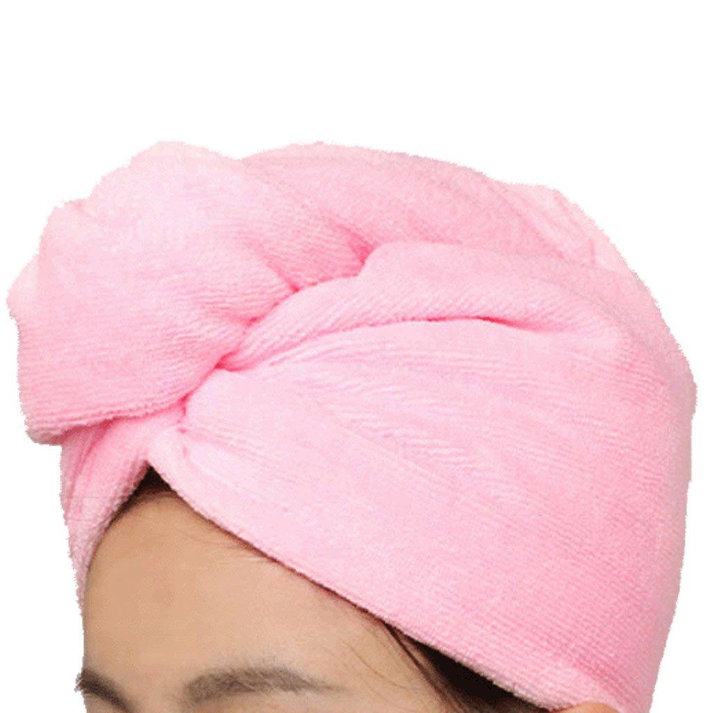 Toalla de microfibra absorbente turbante hair-drying albornoz de secado rápido gorros de ducha sombrero pelo bandas para mujeres (rosa) BAIYOU
