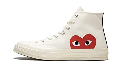 low price classic shoes uk cheap sale Converse Chuck 70 CDG Play (Milk/White-High Risk Red,9)