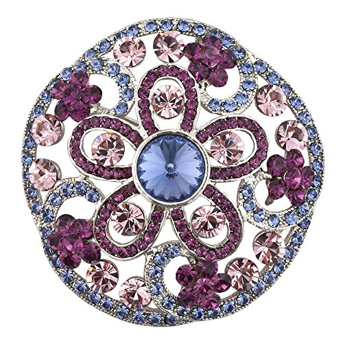 LilyJewelry Round Wreath Flower Brooch Pin (Purple) Round Wreath Pin