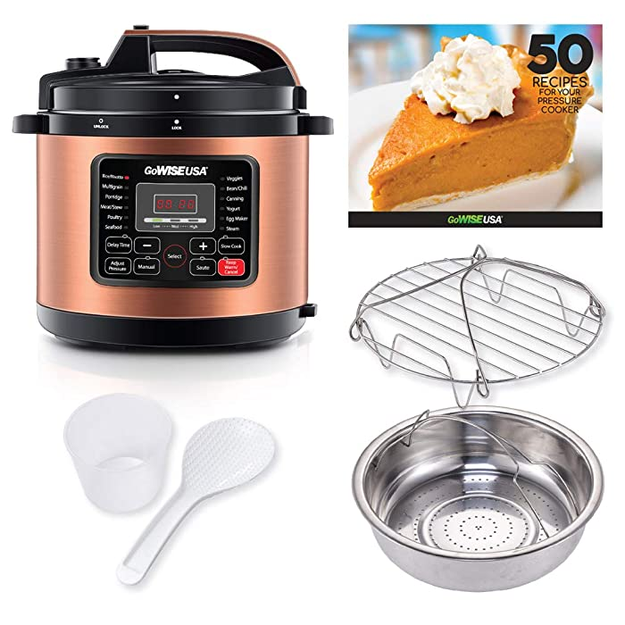 GoWISE USA 12-in-1 Electric Pressure Cooker + 50 Recipes for your Pressure Cooker Book with Measuring Cup, Stainless Steel Rack and Basket, Spoon (6-QT, Copper)
