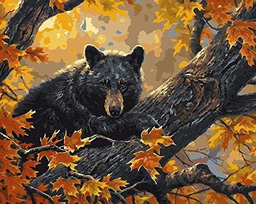 数字油絵 Diy デジタル 油絵子供大人初心者ギフ-森の森の動物のクマ 50cmX40cm (フレームレス)