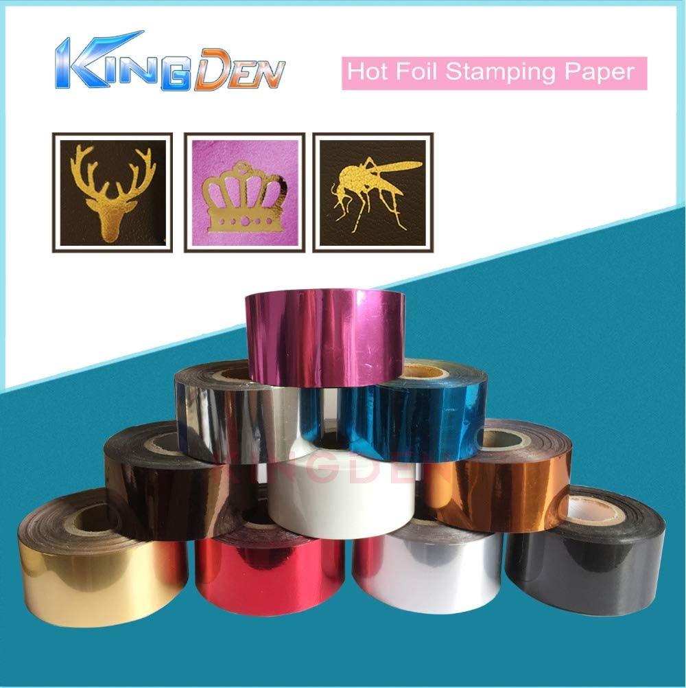 Color: gold, Specification: 3cm x 120m Tool Parts KINGDEN Hot Foil Stamp Paper Leather PVC Hot Stamping Foil Heat Transfer Anodized Gilded Paper stamping machine paper