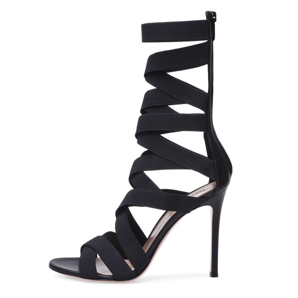 XIE Damen Stilettsandalen Absatzschuhe Plattform Peep Toe Toe Toe Knöchel Schwarz Sandale Stiefel mit Reißverschluss für Party Abend Hochzeit  728e4d