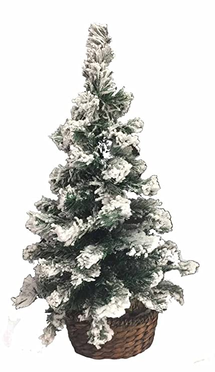 Image Unavailable. Image not available for. Color: 2' Potted Snow Flocked  Artificial Pine Christmas Tree ... - Amazon.com: 2' Potted Snow Flocked Artificial Pine Christmas Tree
