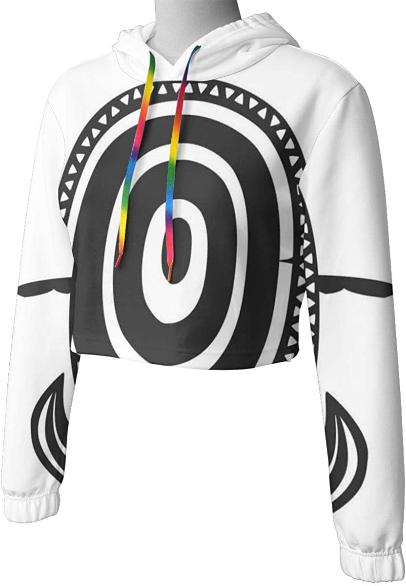 Womens Cropped Hoodie,Ethnic Animal with Shell Bullseye Circles and Spiral Motifs Geometric Pattern,S-XL