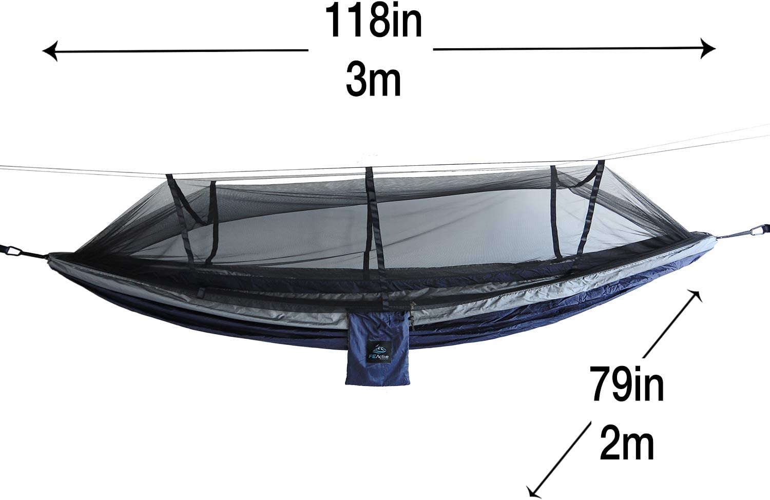 FE Active – Camping Hammock Portable Lightweight 2 Person Double Hammock with Mosquito Net for Outdoors, Camping, Backpacking, Hiking, Trekking Designed in California, USA