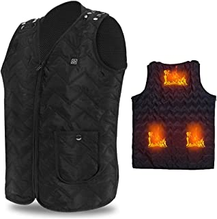 Vinmori Electric Heated Vest, Washable Size Adjustable USB Charging Heated Clothing Winter Warm Gilet(Black)