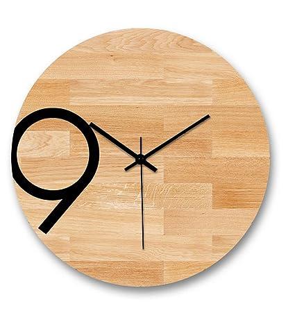 H&M Reloj de pared creativo nórdico moderno minimalista de madera tranquilo reloj de pared retro sala