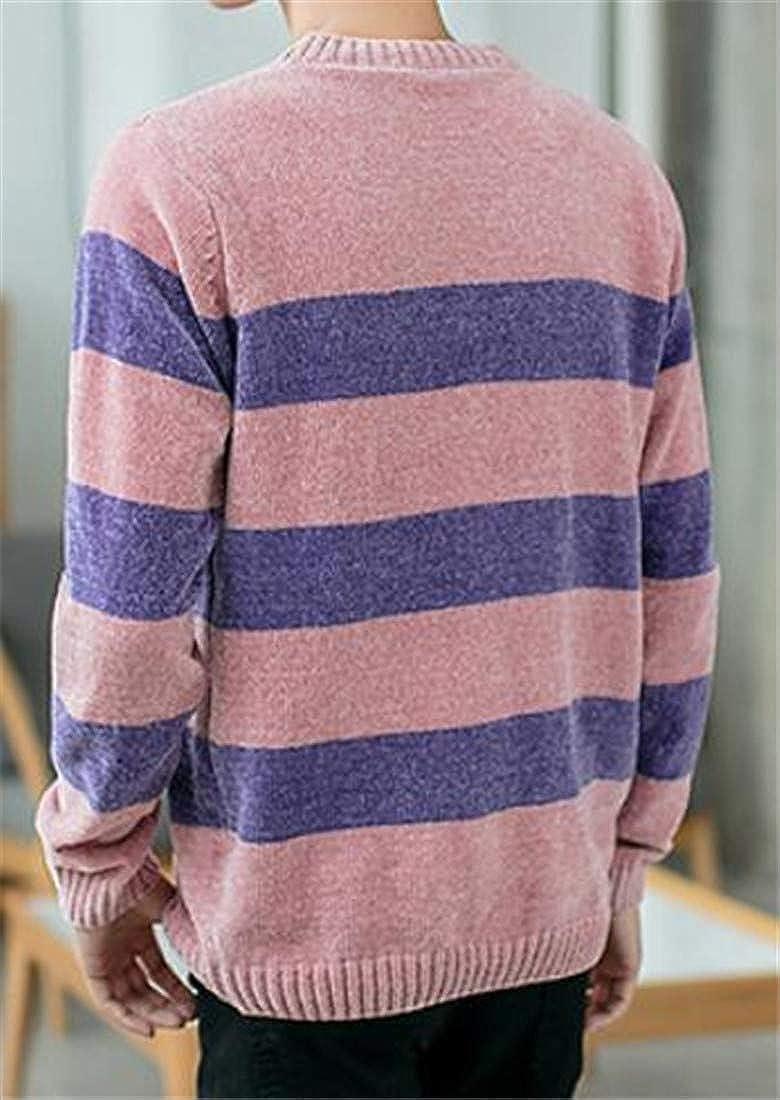 Bigbarry Mens Round-Neck Knit Knitwear Casual Stripe Pullover Jumper Sweaters