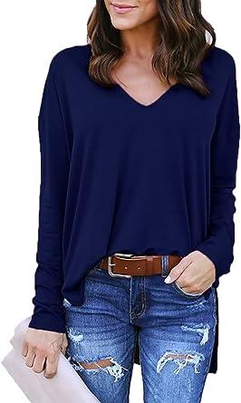 Kidsform Camiseta de Mujer Verano Fluido Jersey para Mujer D-Azul Oscuro S