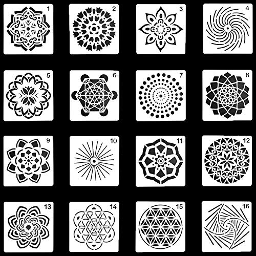 (16 Pack Mandala Dotting Stencils,Mandala Dot Painting Templates Stencils for DIY Rocks Stone Airbrush Wall Art Canvas Wood Furniture Cards Painting Art)