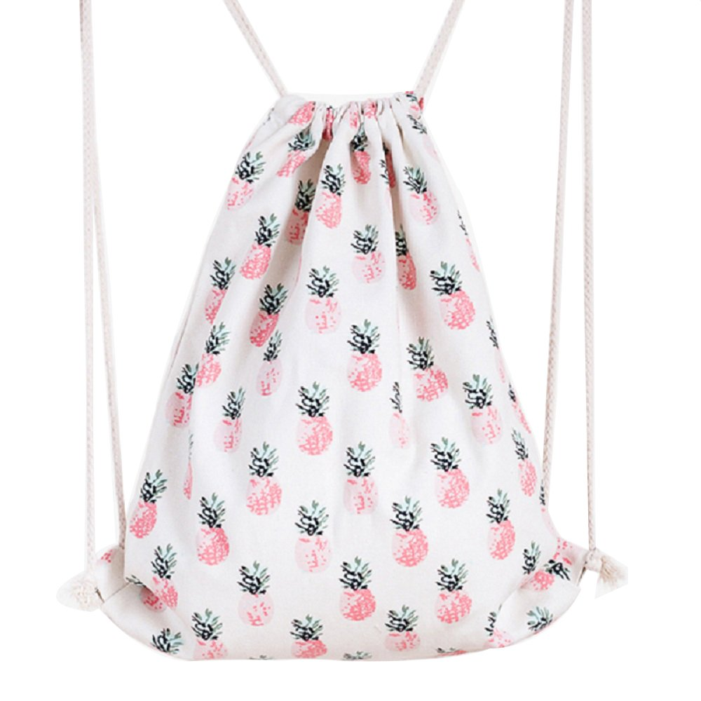 Hosaire Drawstring Bag White Pineapple Printing Folding Backpack Gym Sport Backpack Home Travel Sport Storage for Teen Young Girls