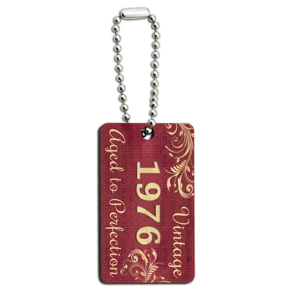 Pink Vintage Aged to Perfection 1976 Wood Wooden Rectangle Key Chain