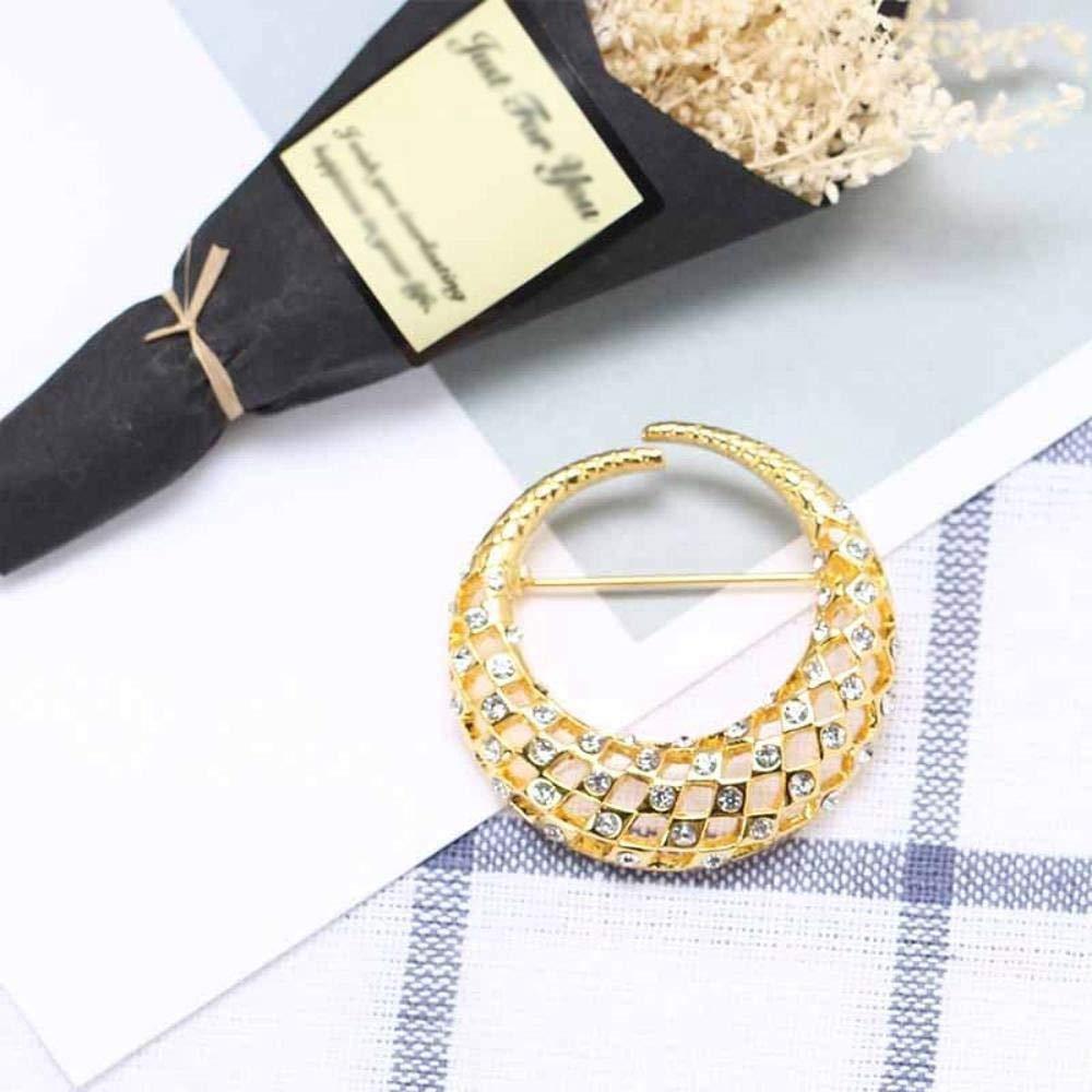 Hongge Broche Bijoux Broche de Couleur Lune Alliage plaqué Or Haut de Gamme Habillement Cent Tours Diamant Poitrine Aiguille,Cadeau de Haute qualité