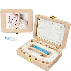 MOGOI Caja de Dientes de bebé, Caja de Recuerdos de Madera para Recuerdos de bebé, Marco de Fotos de Madera, Organizador para Guardar los Dientes de los niños para ...