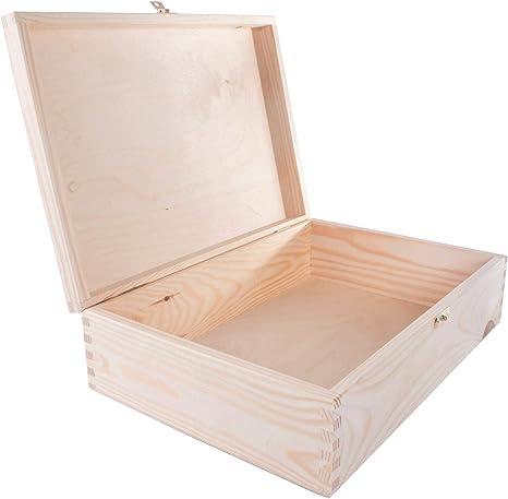 WooDeeDoo - Cajas rectangulares de Pino con Cierre, Madera ...