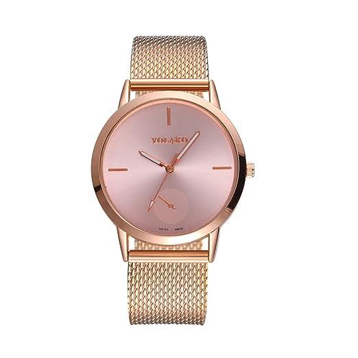 Kinlene Relojes Mujer,de moda Acero Inoxidable Analógico Cuarzo Reloj (Rose Gold): Amazon.es: Relojes