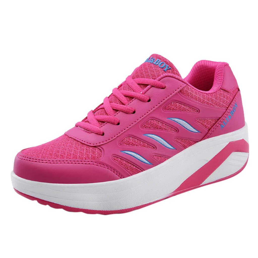 ASHOP - Chaussures femme Mode Féminine Fond Épais Respirant Baskets Chaussures Rehaussantes Chaussures À Bascule Les Chaussures Confortable Les Loisirs Travail Madame Laçage Sneakers