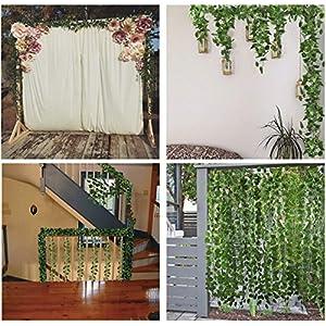 YTYC 87 Feet-12 Pack Artificial Ivy Leaf Garland Plants Vine for Hanging Wedding Garland Fake Foliage Flowers Home Kitchen Garden Office Wedding Wall Decor 92
