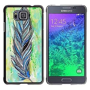 Caucho caso de Shell duro de la cubierta de accesorios de protección BY RAYDREAMMM - Samsung GALAXY ALPHA G850 - Feather Indian Pattern Watercolor