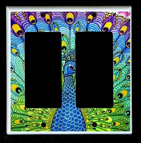 Double Decora Rocker GFI Outlet Wall Plate Cover - Peacocks - Peacock (Triple Gfi Switchplates)