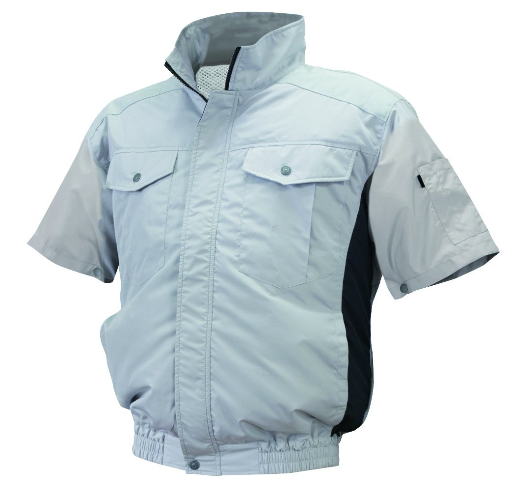 NSP 空調服 半袖 服単体 ND-111 シルバー/チャコール チタンコーティング 立ち襟 肩補強あり サイズ2L 8209498 B07BHL4SB4  2L